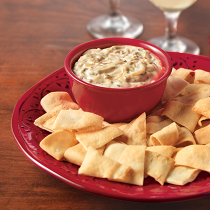 Caramelized Onion Dip served with Pita Chips