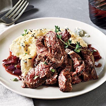 Skirt Steak with Gorgonzola Polenta