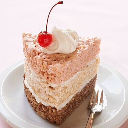 Rice Krispies Treat Neapolitan Cake