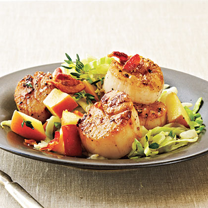 Seared Scallops with Bacon, Cabbage, and Apple