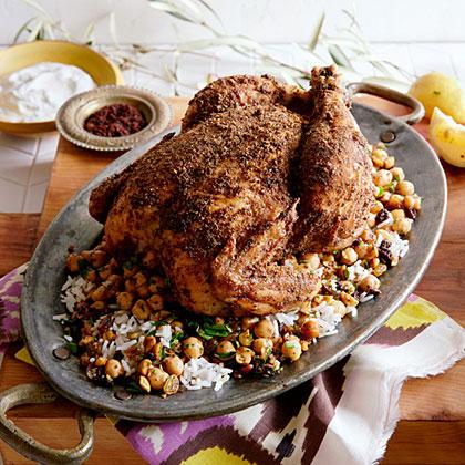 Coriander and Sumac Roast Chicken with Chickpeas and Hazelnuts