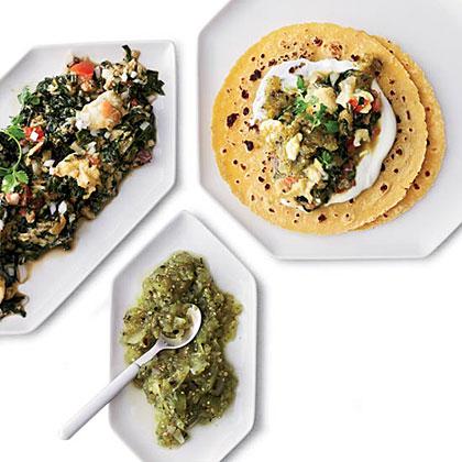 Scrambled Egg and Swiss Chard Tacos