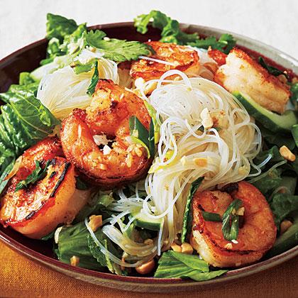 Vietnamese Salt and Pepper Shrimp Rice Noodle Bowl (Bun Tom Xao)