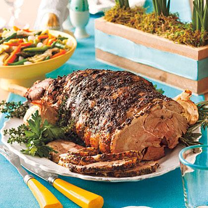 Garlic-Herb Roast Leg of Lamb