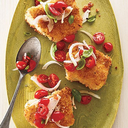 Panko Crusted Cod With Tomato Basil Relish Recipe Myrecipes