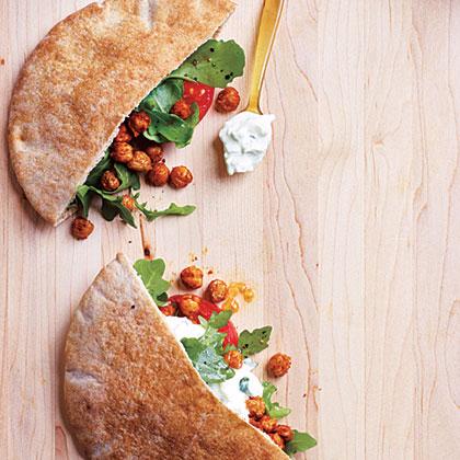 Fried Chickpea and Arugula Pita Sandwiches with Lime Tzatziki