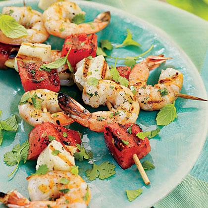 Shrimp, Watermelon, and Halloumi Kabobs
