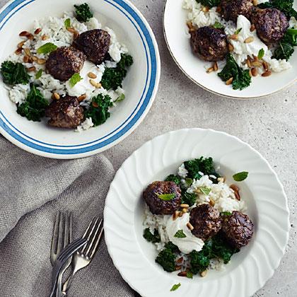 Lamb Meatballs with Kale, Cumin Yogurt, and Carolina Gold Rice