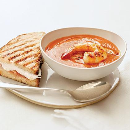 Grilled Shrimp Gazpacho with Fresh Mozzarella-and-Prosciutto Sandwiches
