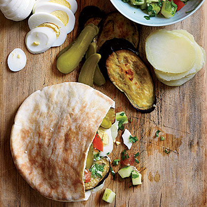 Israeli Roast Eggplant, Hummus and Pickle Sandwiches
