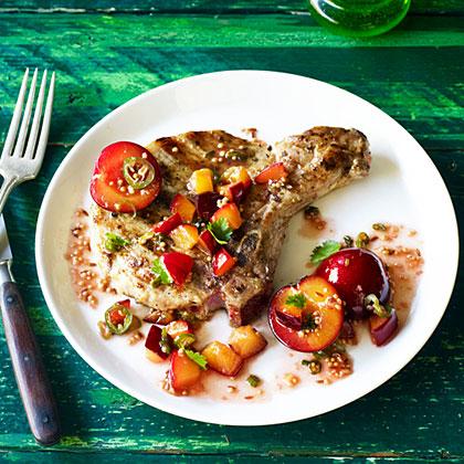 Grilled Pork Chops with Fresh Plum Chutney
