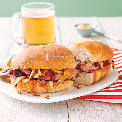 Grilled Kielbasa and Onion Sandwiches