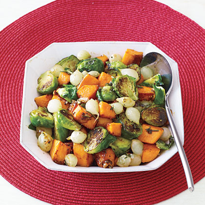 Roasted Sweet Potatoes, Onions and Brussels Sprouts