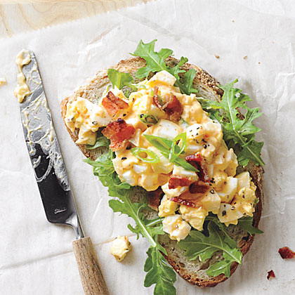 Egg Salad Sandwiches with Bacon and Sriracha