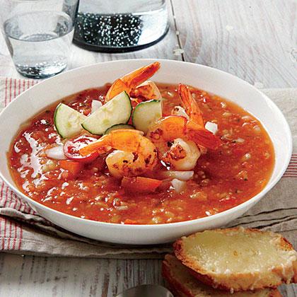 Gazpacho with Lemon-Garlic Shrimp