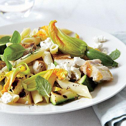 Warm Salad of Summer Squash with Swordfish and Feta