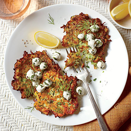 Zucchini Fritters with Herb-and-Mozzarella Salad