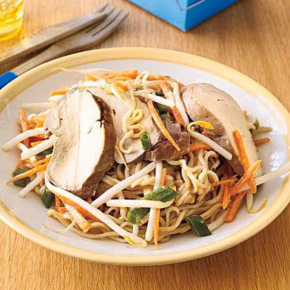 Cold Sesame Noodles with Roasted Pork