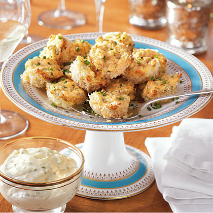 Parmesan-Crusted Crab Cake Bites with Chive Aïoli