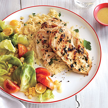 Lemon-Parsley Chicken with Corn and Tomato Salad