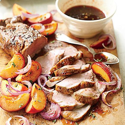 Glazed Pork with Fresh Plums