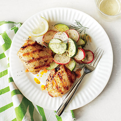 Spicy Grilled Chicken Thighs with Cucumber-Radish Salad