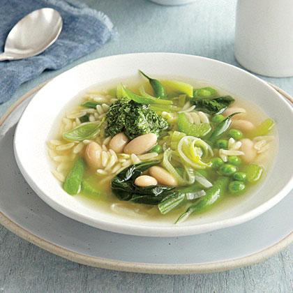 Green Vegetable Soup with Lemon-Basil Pesto