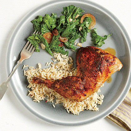 Roasted Chicken with Mustard Greens