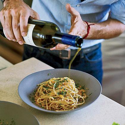 Spaghetti with Bottarga and Almond Bread Crumbs