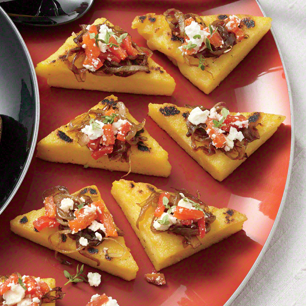 Polenta Toasts with Balsamic Onions, Roasted Peppers, Feta, and Thyme