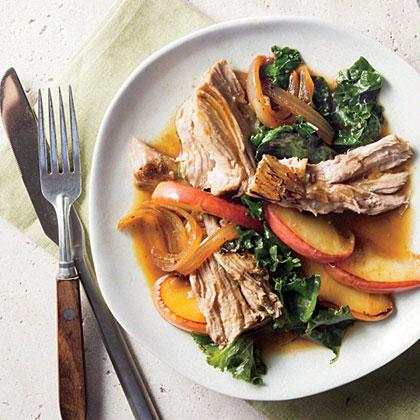 Smothered Vinegar Pork Shoulder with Apples and Kale