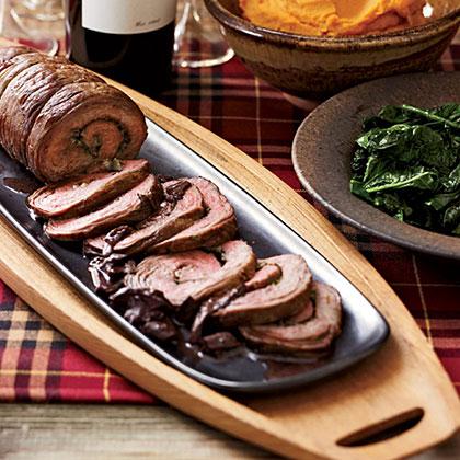 Flank Steak Spirals with Porcini & Red Wine Sauce