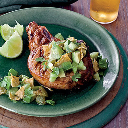 Grilled Chile Pork Chops with Tortilla-Tomatillo Salsa