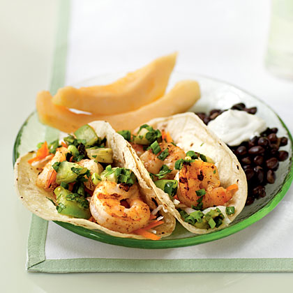Spicy Shrimp Tacos with Grilled Tomatillo Salsa