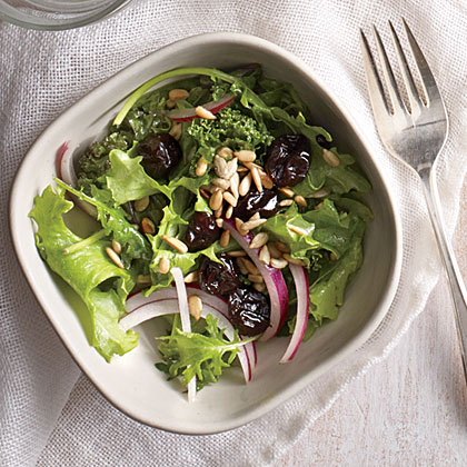 Cherry and Sunflower Seed Kale Salad