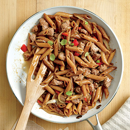 Skillet-Toasted Penne with Chicken Sausage