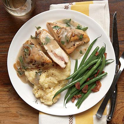 Stuffed Chicken and Herb Gravy with Creamy Polenta