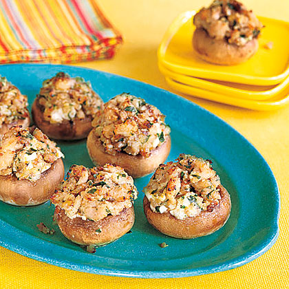 Turkey and Cheese Stuffed Mushrooms