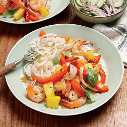 Shrimp-Mango Stir-Fry and Rice Noodles