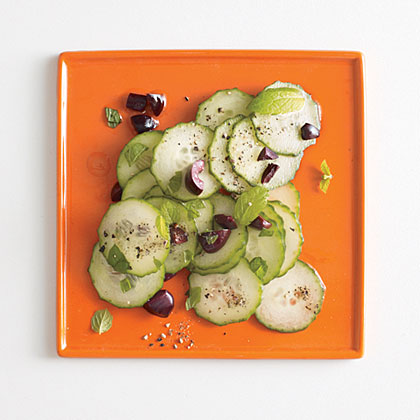 Cucumber, Black Olive, and Mint Salad