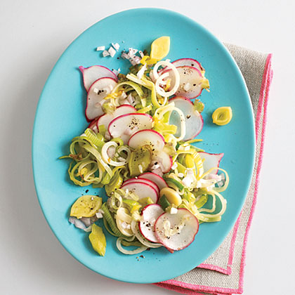 Sautéed Leeks and Radishes