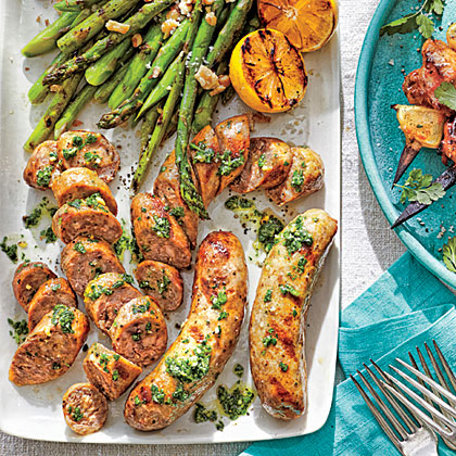Grilled Sausages with Asparagus
