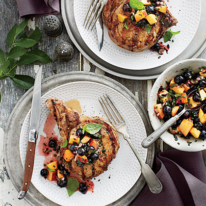Grilled Pork Chops with Blueberry-Peach Salsa