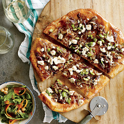 Caramelized Onion and Olive Pizza with Goat Cheese