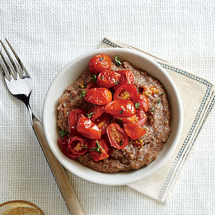 Creamy Gorgonzola Teff with Herb-Roasted Tomatoes