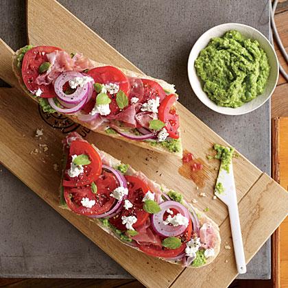 Tomato and Prosciutto Sandwiches with Pea Pesto