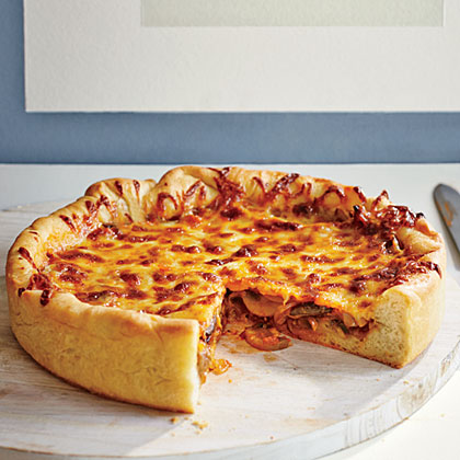 Deep-Dish Mushroom and Onion Pizza