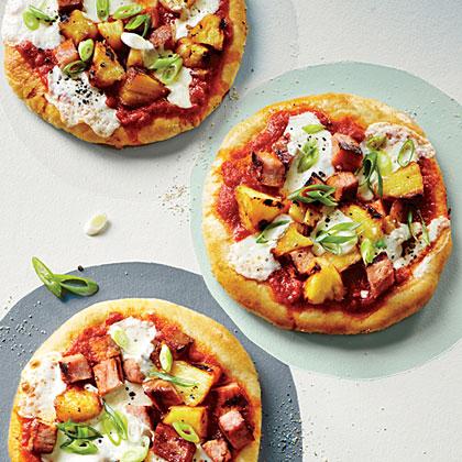 Grilled Individual Hawaiian Pizzas