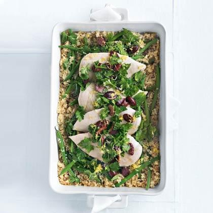 Quinoa Roasted Chicken with Olive Gremolata