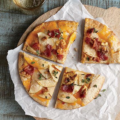 Apple and Bacon Pita Pizzas